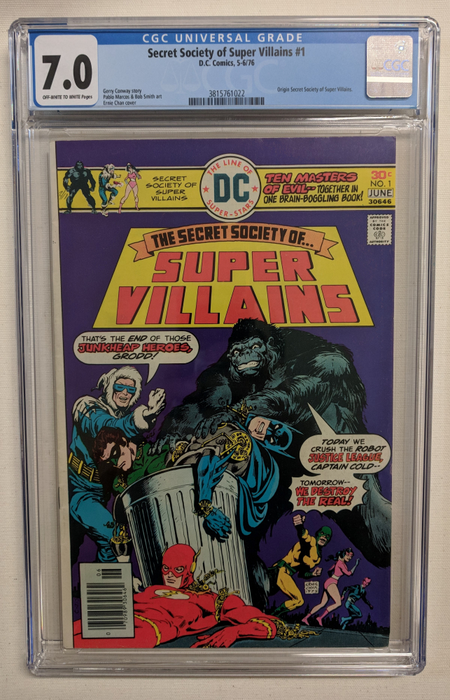 """1976 """"The Secret Society of Super Villains"""" Issue #1 DC Comic Book (CGC 7.0) at PristineAuction.com"""
