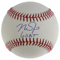 "Mike Trout Signed OML Baseball Inscribed ""GOAT"" (MLB Hologram) at PristineAuction.com"