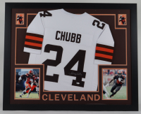 Nick Chubb Signed 35x43 Custom Framed Jersey Display (Beckett COA) at PristineAuction.com