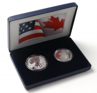 Set of (2) 2019 Pride of Two Nations LE 1 Ounce Fine Silver $1 One Dollar Coins with Display Case at PristineAuction.com