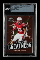 Jonathan Taylor 2020 Leaf Best of FB Flash of Brilliance Pre-Production Proof Clear Orange #1 / 1 (Leaf Encapsulated) at PristineAuction.com