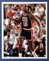 Magic Johnson Signed 35x5x43.5 Custom Framed Jersey Display (Beckett COA) at PristineAuction.com