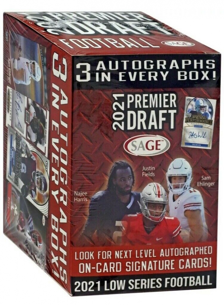 2021 Sage Hit Premier Draft Low Series Football Blaster Box with (63) Cards at PristineAuction.com