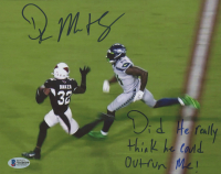"""DK Metcalf Signed Seahawks 8x10 Photo Inscribed """"Did He really think he could Outrun Me!"""" (Beckett COA) at PristineAuction.com"""