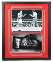 George Foreman Signed 22x26x5.25 Custom Framed Boxing Glove Shadowbox Display (Fiterman Hologram & Foreman COA) at PristineAuction.com