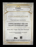 Ichiro 2021 Topps Tier One Autographs #T1AI #9/10 at PristineAuction.com