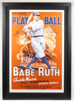 """""""Play Ball With Babe Ruth"""" 34.25x48 Custom Framed Lithograph Display (See Description) at PristineAuction.com"""