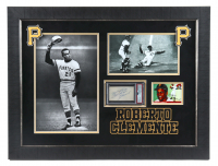 """Roberto Clemente Signed Pirates 22x28 Custom Framed Cut Display with 1955 Topps #164 RC Inscribed """"Best Wishes"""" (PSA Encapsulated) at PristineAuction.com"""