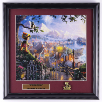 "Thomas Kinkade ""Pinocchio"" 16x16 Custom Framed Print Display With Pinocchio Pin at PristineAuction.com"