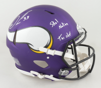"""Dalvin Cook Signed Vikings Full-Size Authentic On-Field Speed Helmet Inscribed """"Skol Nation"""" & """"The Chef"""" (JSA COA & Cook Hologram) (See Description) at PristineAuction.com"""