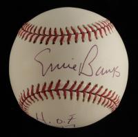 "Ernie Banks Signed OML Baseball Inscribed ""H.O.F. 77"" (Beckett COA) at PristineAuction.com"