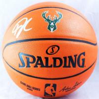 Giannis Antetokounmpo Signed Bucks Logo NBA Game Ball Series Basketball (JSA Hologram) at PristineAuction.com