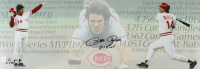 """Pete Rose Signed LE Reds 10x28 Photo Inscribed """"Hit King"""" (Fiterman Sports Hologram) at PristineAuction.com"""