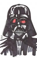 "Tom Hodges - Darth Vader - ""Star Wars"" - Signed ORIGINAL 5.5"" x 8.5"" Drawing on Paper (1/1) at PristineAuction.com"