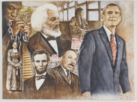 """""""From Slavery To Obama"""" 18x24 LE Canvas Print (PA LOA) at PristineAuction.com"""