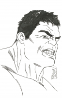 """Tom Hodges - The Hulk - The Avengers - Marvel Comics - Signed ORIGINAL 5.5"""" x 8.5"""" Drawing on Paper (1/1) at PristineAuction.com"""