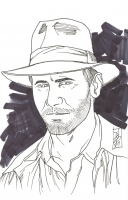 """Tom Hodges - Indiana Jones - Harrison Ford - Signed ORIGINAL 5.5"""" x 8.5"""" Drawing on Paper (1/1) at PristineAuction.com"""