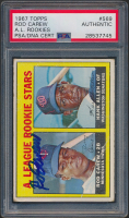 Rod Carew Signed 1967 Topps #569 Rookie Stars Rod Carew RC / Hank Allen RC DP (PSA Encapsulated) at PristineAuction.com