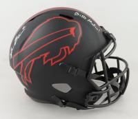 "Tyler Bass Signed Bills Full-Size Eclipse Alternate Speed Helmet Inscribed ""Bills Mafia!"" (Beckett COA) (See Description) at PristineAuction.com"