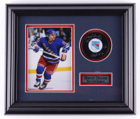 "Marcel Dionne Signed Rangers 12.5x14.5 Custom Framed Puck Display Inscribed ""HOF 92"" (COJO COA) (See Description) at PristineAuction.com"