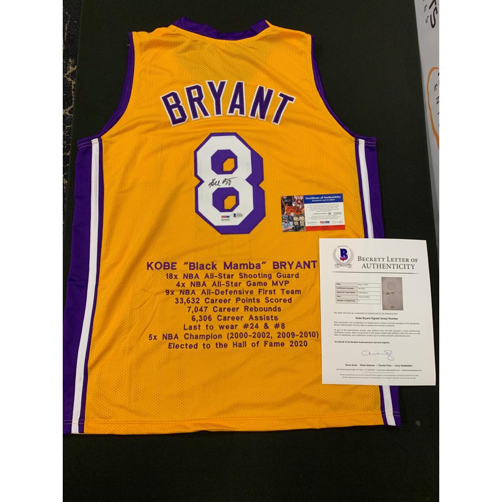 Kobe Bryant Signed Career Highlight Stat Jersey (Beckett LOA & PSA ...