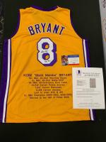 Kobe Bryant Signed Career Highlight Stat Jersey (Beckett LOA & PSA COA) at PristineAuction.com