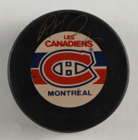 Patrick Roy Signed Canadiens Logo Hockey Puck (Beckett COA) at PristineAuction.com
