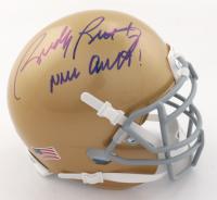 "Rudy Ruettiger Signed Notre Dame Fighting Irish Mini Helmet Inscribed ""Never Quit!"" (Beckett COA) at PristineAuction.com"