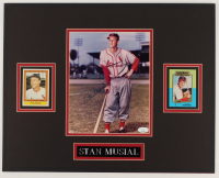 Stan Musial Signed 16x20 Custom Matted Photo Display with (2) Cards (JSA COA) at PristineAuction.com