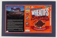 "John Smoltz & Chipper Jones Signed 16x24 Custom Matted Wheaties Box Display Inscribed ""96 Cy"" & ""99 NL MVP!"" (JSA COA) at PristineAuction.com"
