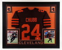 Nick Chubb Signed 35x43 Custom Framed Jersey Display (Beckett Hologram) (See Description) at PristineAuction.com