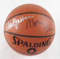 Kareem Abdul-Jabbar & Magic Johnson Signed Spalding NBA Basketball (JSA COA) at PristineAuction.com