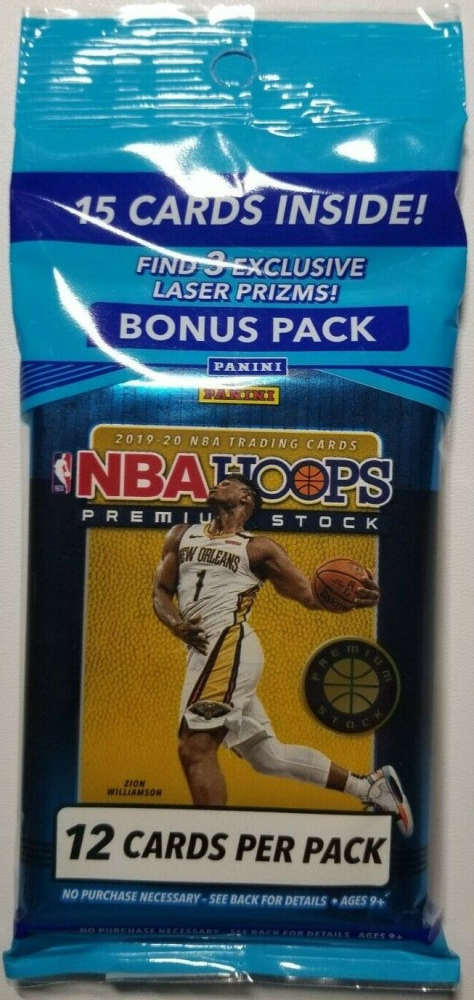 2019-20 NBA Hoops Premium Stock Basketball Cello Pack with (15) Cards at PristineAuction.com