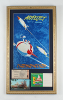 "Disneyland Tomorrowland ""Astrojet"" 15x26 Custom Framed Poster Print Display with Vintage ""C"" Ticket & Postcard at PristineAuction.com"