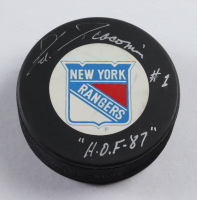 "Eddie Giacomin Signed Rangers Logo Hockey Puck Inscribed ""H.O.F. 87"" (Beckett COA) at PristineAuction.com"