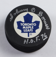 """Johnny Bower Signed Maple Leafs Logo Hockey Puck Inscribed """"H.O.F. 76"""" (Beckett COA) at PristineAuction.com"""