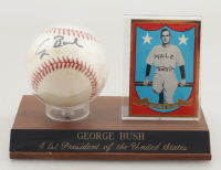 George H. W. Bush Signed Encased OAL Baseball Display with Trading Card (JSA LOA) at PristineAuction.com