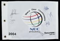 2004 World Golf Championship 13x19 Flag Signed by (6) Tiger Woods, Chris DiMarco, Sergio Garcia, Justin Leonard, Jim Furyk (PSA LOA) at PristineAuction.com