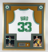 Larry Bird Signed 32x36 Custom Framed Jersey Display with Celtics 1986 Champions Pin (PSA COA) (See Description) at PristineAuction.com