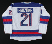 """Mike Eruzione Signed Jersey Inscribed """"Miracle on Ice"""" & """"80 Gold"""" (Beckett COA) (See Description) at PristineAuction.com"""