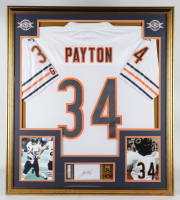 Walter Payton Signed Bears 32x36 Custom Framed Index Card Display with Jersey & Payton Pin (PSA Encapsulated) at PristineAuction.com