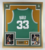 Larry Bird Signed 32x36 Custom Framed Jersey Display with 1986 Celtics NBA Champions Pin (PSA COA) at PristineAuction.com