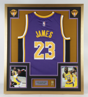 LeBron James 32x36 Custom Framed Jersey Display with 17x NBA Champions Pin at PristineAuction.com