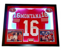 Joe Montana & Dwight Clark Signed 49ers 32x40 Custom Framed Jersey Display with LED Lights (Beckett Hologram) at PristineAuction.com