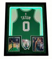 "Jayson Tatum Signed Celtics 34x42 Custom Framed Jersey Display Inscribed ""The Problem"" with LED Lights (Fanatics Hologram) at PristineAuction.com"