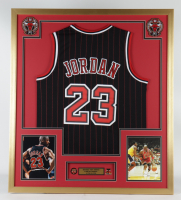 Michael Jordan 32x36 Custom Framed Jersey Display With Bulls 5 Time NBA Champions Pin & 1996 NBA Eastern Conference Champions Pin (See Description) at PristineAuction.com