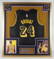 Kobe Bryant 32x36 Custom Framed Jersey Display with 2020 Hall of Fame Induction Pin (See Description) at PristineAuction.com