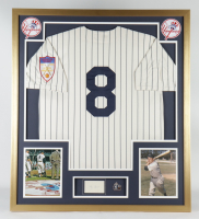 Yogi Berra Signed 32x36 Custom Framed Cut Display With Jersey & 1951 World Series Champions Pin (PSA) at PristineAuction.com