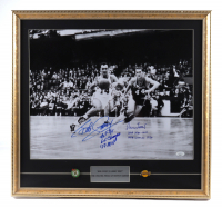Bob Cousy & Jerry West Signed 22x23 Custom Framed Photo Display with Celtics Pin & Lakers Pin With Multiple Inscriptions (JSA COA) at PristineAuction.com