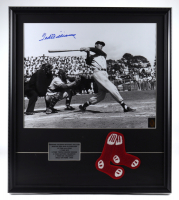 Ted Williams Signed Red Sox 23x26 Custom Framed Photo Display with Oversized Red Sox Cloth Patch (Williams COA) at PristineAuction.com